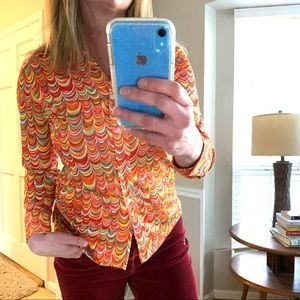 Vintage 1970s mod psychedelic groovy button top L
